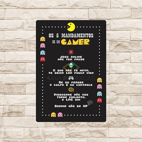 30003 - Placa Decorativa - 5 Mandamentos de um Gamer