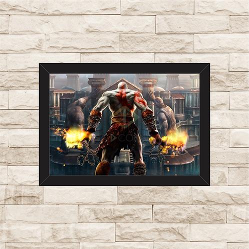 1038 - Quadro com moldura God of War - Kratos