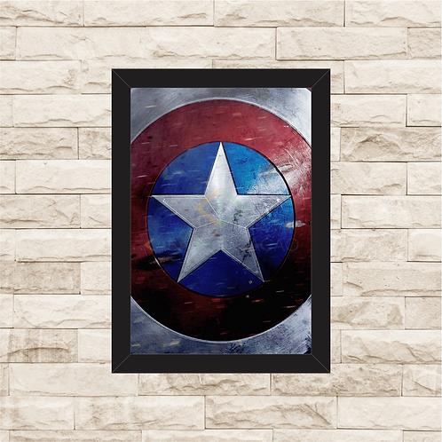 1349 - Quadro com moldura Escudo do Capitão América