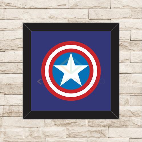 1232 - Quadro com moldura Capitão América Logo