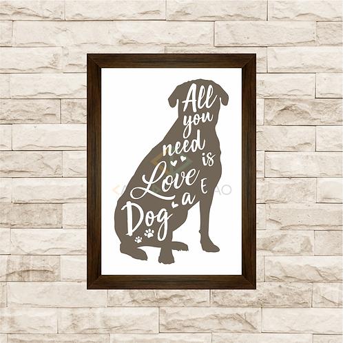 8017 - Quadro com moldura Love and Dog