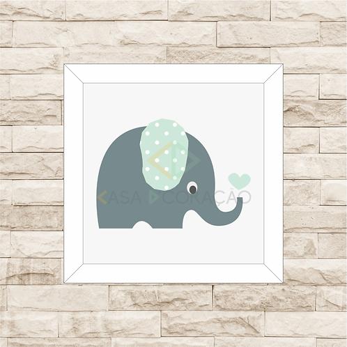 4038 B - Quadro com moldura Elefantinho - Verde