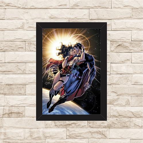 1290 - Quadro com moldura Superman e Mulher Maravilha