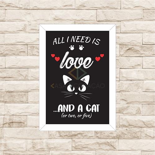 8008 - Quadro com moldura Love and Cats