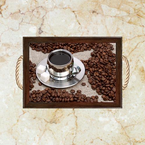 10018 - Bandeja Decorativa - Grãos de Café