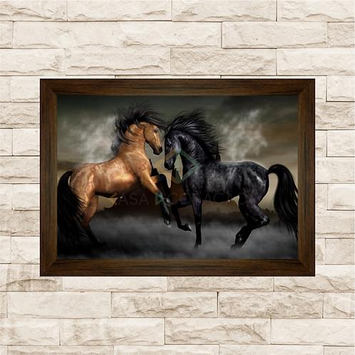 6213 - Quadro com moldura Cavalos