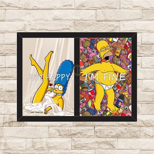 5023 - Quadro Duplo Para Guardar Tampinhas e Rolhas - Simpsons