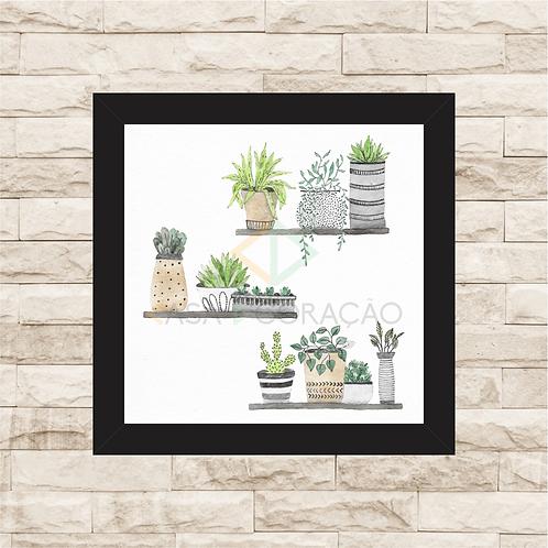 6057 - Quadro com moldura Vasos de Plantas