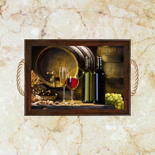 10024 - Bandeja Decorativa - Uva e Vinho