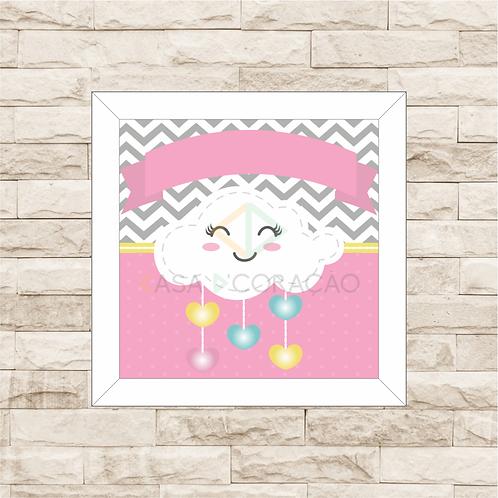 4143 - Quadro com moldura Nuvem - Rosa