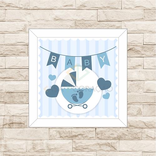 4014 - Quadro com moldura Baby - Azul