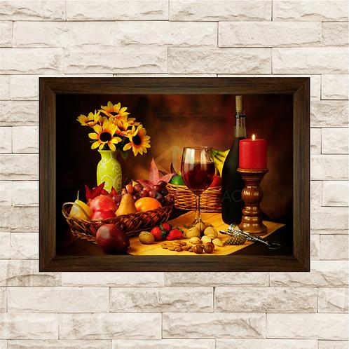 6235 - Quadro com moldura Frutas e Vinho