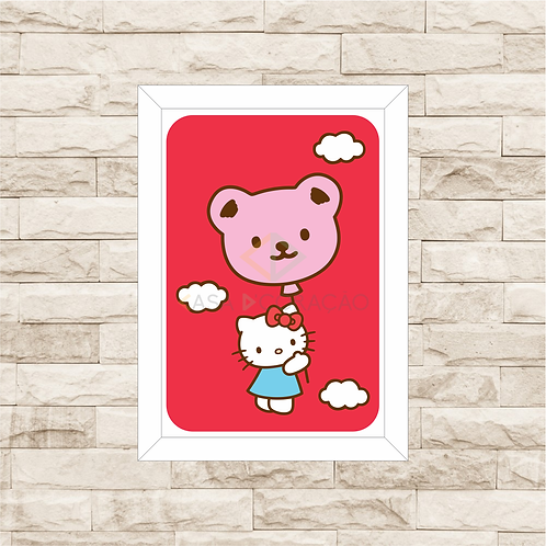 4076 - Quadro com moldura Hello Kitty