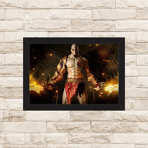 1019 - Quadro com moldura God of War - Kratos