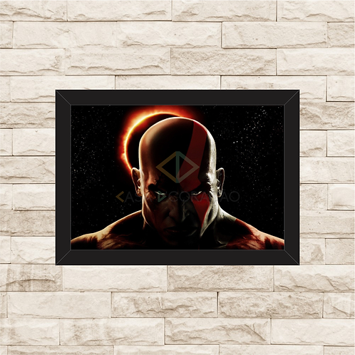 1037 - Quadro com moldura God of War - Kratos