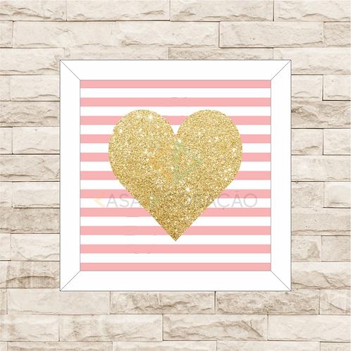 6050 - Quadro com moldura Coração Dourado