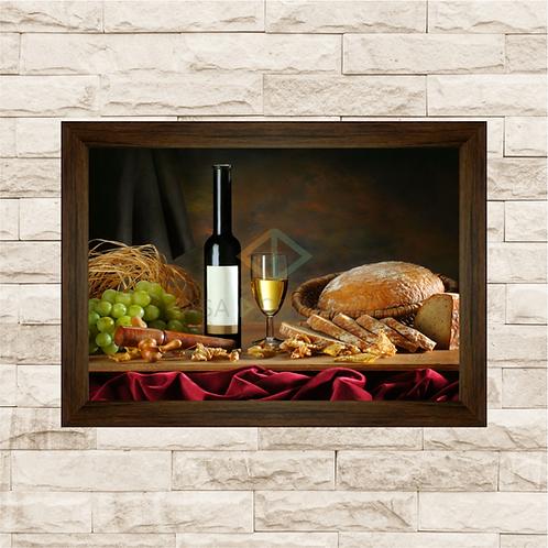 6237 - Quadro com moldura Pão e Vinho