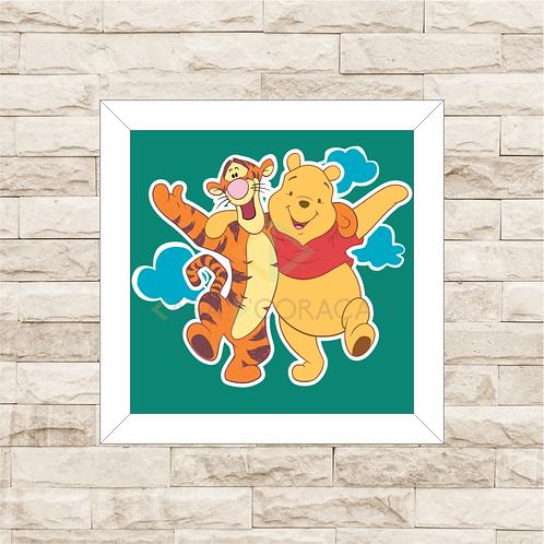 4095 - Quadro com moldura Ursinho Pooh e Tigrão
