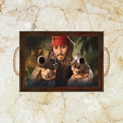 10045 - Bandeja Decorativa - Piratas do Caribe - Jack Sparrow