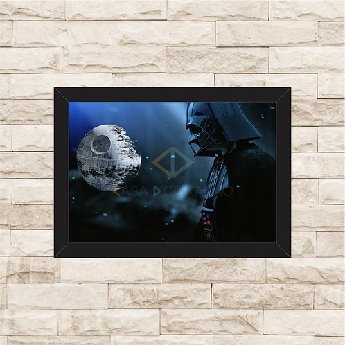 1040 - Quadro com moldura Star Wars - Darth Vader e a Estrela da Morte