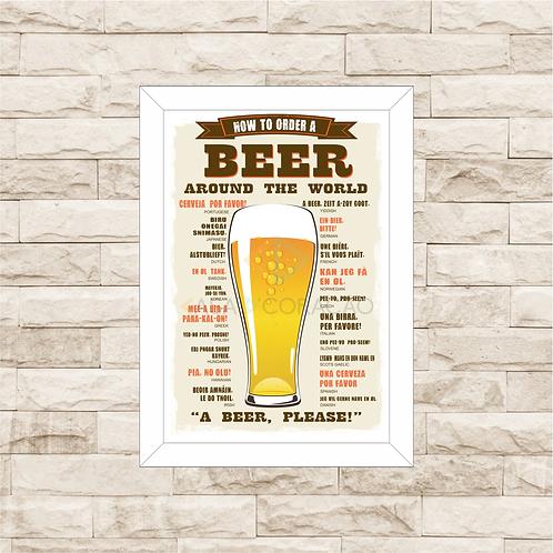 6064 - Quadro com moldura Como Pedir Cerveja Pelo Mundo