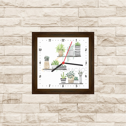 9021 - Relógio com moldura Suculentas