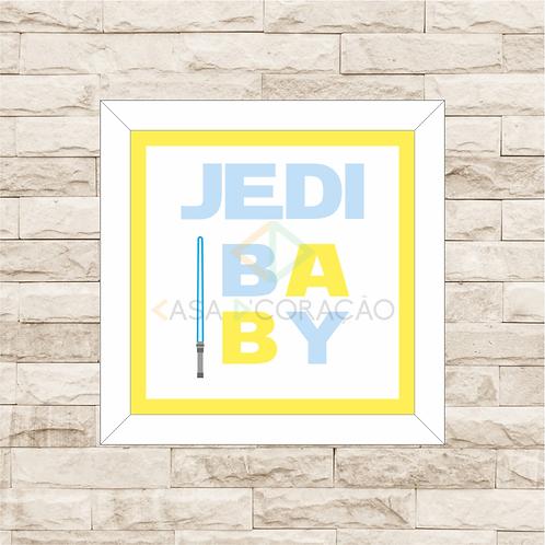 4121 - Quadro com moldura Jedi Baby - Azul