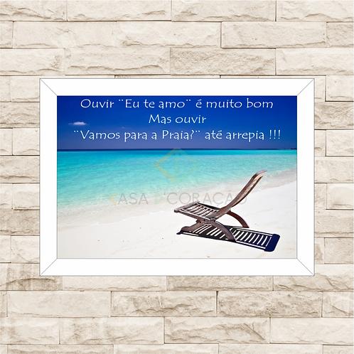 6247 - Quadro com moldura Vamos Para a Praia?