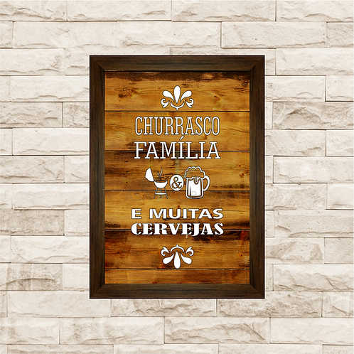 5013 - Quadro Para Guardar Tampinhas - Churrasco, Família e Cervejas