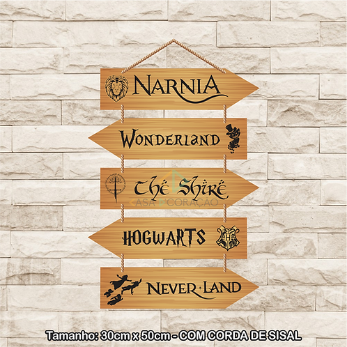 30036 - Placa Decorativa - Narnia, Wonderland, The Shire, Hogwarts e Neverland