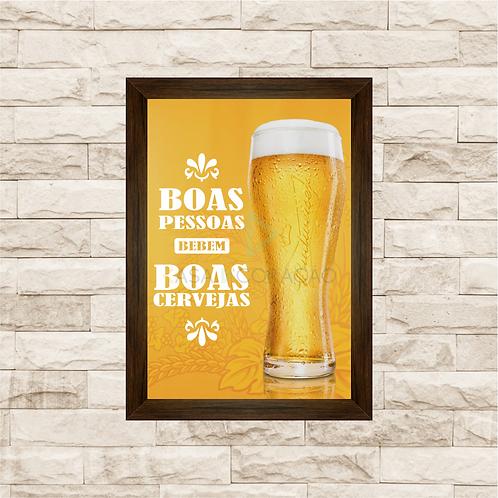 5039 - Quadro Para Guardar Tampinhas - Boas Pessoas, Boas Cervejas