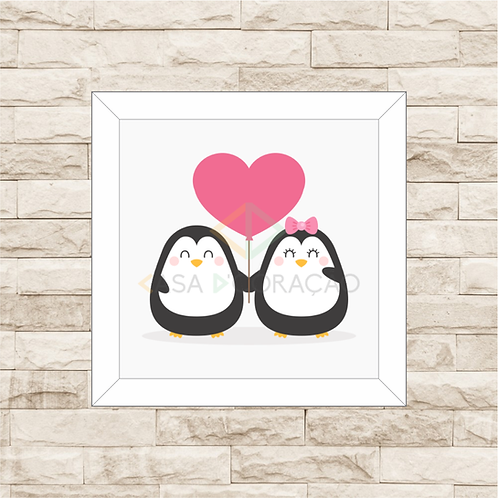 4035 B - Quadro com moldura Pinguins Love