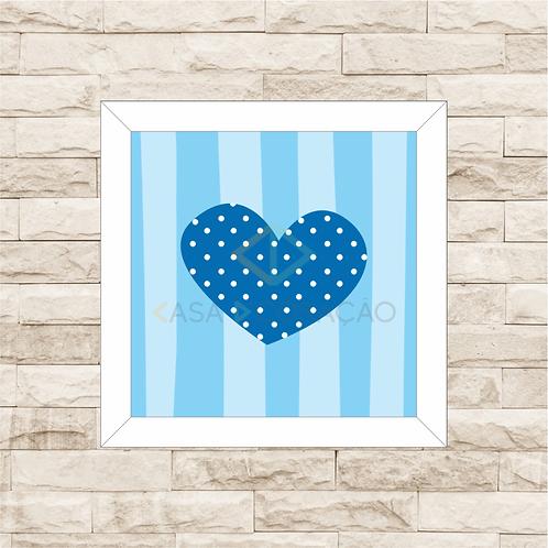 4037 B - Quadro com moldura Coração - Azul