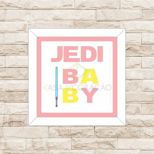 4123 - Quadro com moldura Jedi Baby - Rosa