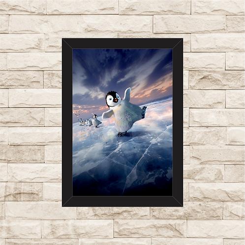 1552 - Quadro com moldura Happy Feet - O Pingüim