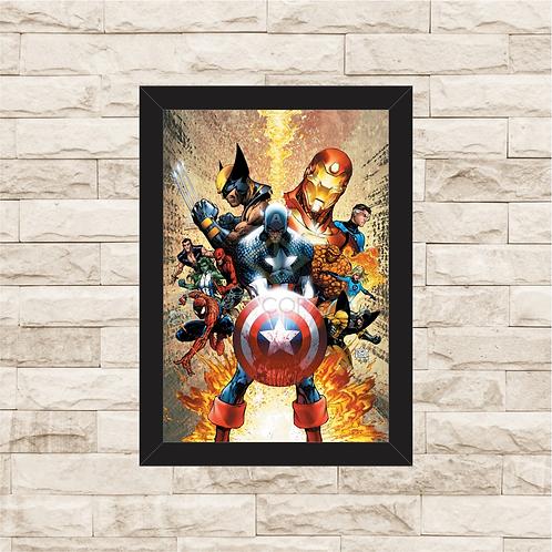 1158 - Quadro com moldura Heróis Marvel