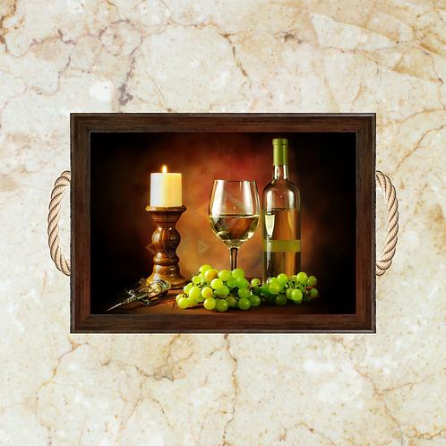 10022 - Bandeja Decorativa - Uva e Vinho