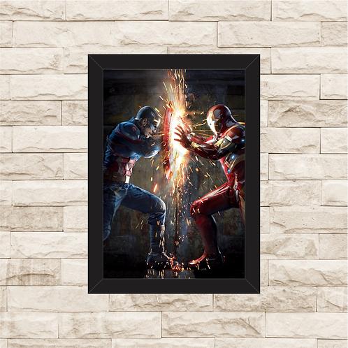 1350 - Quadro com moldura Capitão América vs Homem de Ferro