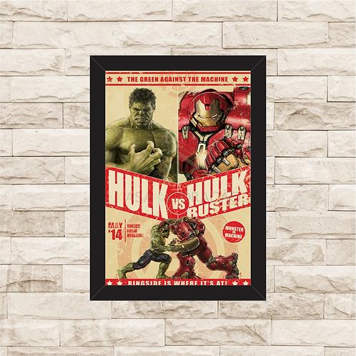 1070 - Quadro com moldura Hulk vs Hulk Buster