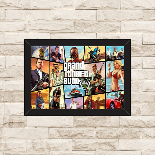 1016 - Quadro com moldura Grand Theft Auto - GTA