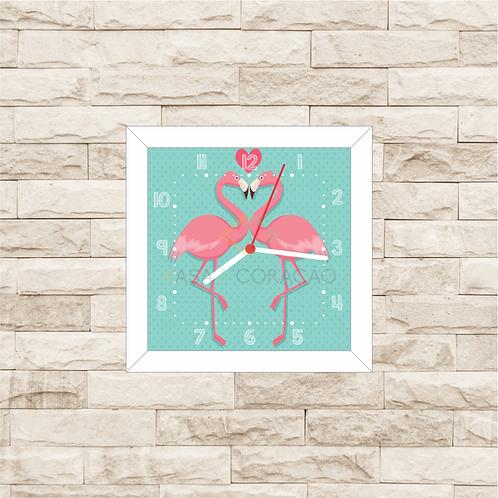 9012 - Relógio com moldura Flamingos