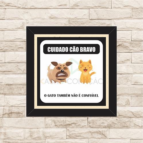 8013 - Quadro com moldura Cuidado Cão Bravo!