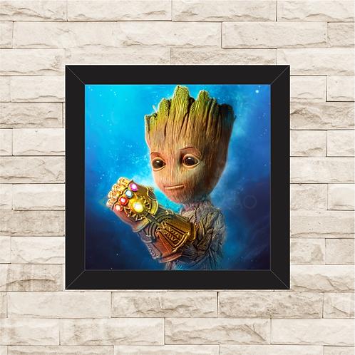 1751 - Quadro com moldura Vingadores - Baby Groot - Punho de Thanos