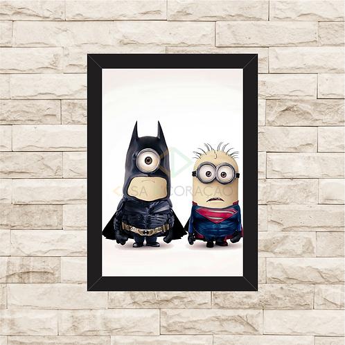 1094 - Quadro com moldura Super Minions - Batman x Superman