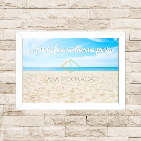 137 - Quadro para guardar conchas - A Vida Fica Melhor na Praia
