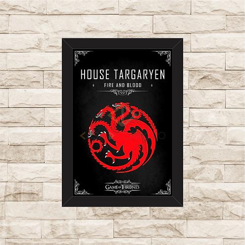 1145 - Quadro com moldura Game of Thrones - House Targaryen