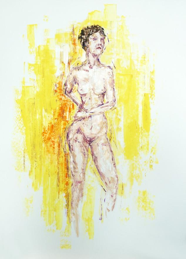 Weiblicher Akt, 2021, 70x50cm, Öl auf Karton