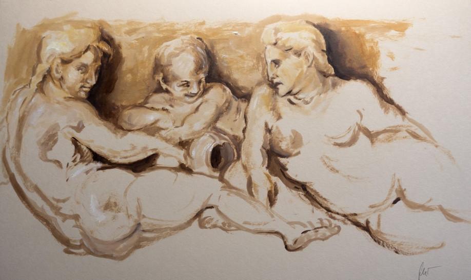 Skizze nach Andrea del Sarto, 2021, 25,5x42cm, Öl