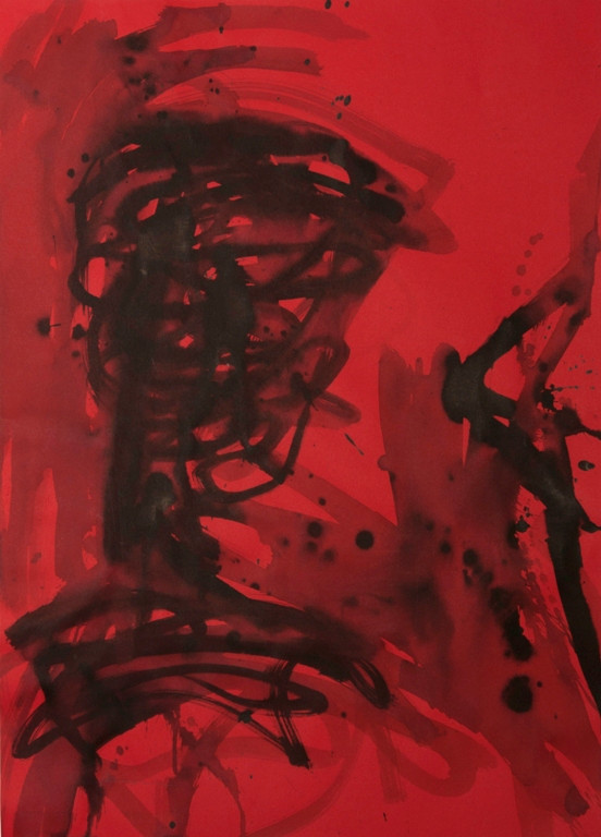 Kopf II, 2017, 70x50cm, Tusche auf rotem Karton