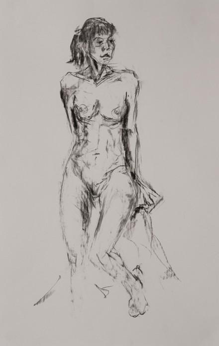 weiblicher Akt, 2019, 42x30cm, Kohle